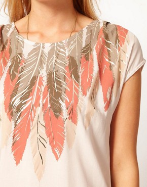 Image 3 of Oasis Feather Print Embellished Top