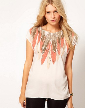 Image 1 of Oasis Feather Print Embellished Top