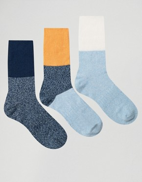 ASOS Boot Socks With Extended Rib & Colour Block 3 Pack