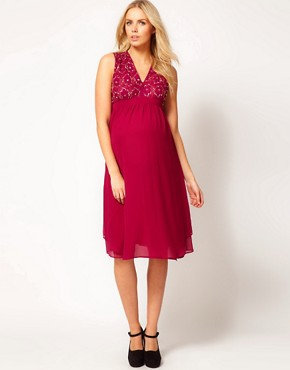 Image 4 ofASOS Maternity Midi Dress With Embellishment