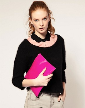 Image 3 ofASOS Leather And Pony Clutch