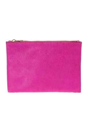 Image 1 ofASOS Leather And Pony Clutch