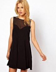 ASOS Swing Playsuit with Sheer Panels