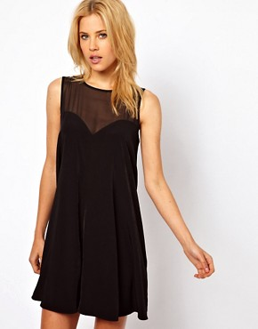 Image 1 ofASOS Swing Playsuit with Sheer Panels