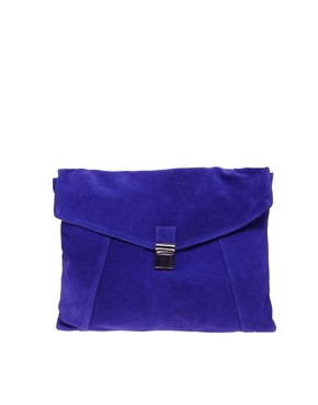 Image 1 ofASOS Suede Large Envelope Clutch Bag