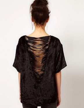 Image 1 ofASOS Velvet T-Shirt With Slashed Back