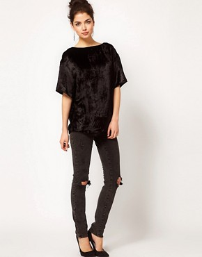 Image 4 ofASOS Velvet T-Shirt With Slashed Back