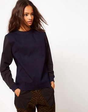 Image 1 ofASOS Shell Top in Bonded Denim and Sweat