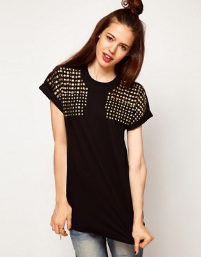 Image 1 ofASOS T-Shirt with Stud Shoulder