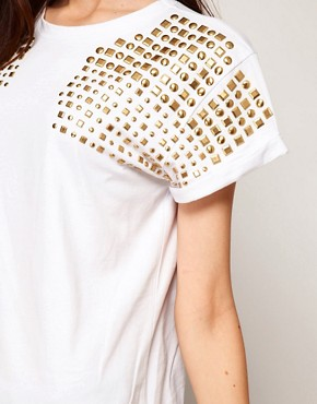 Image 3 ofASOS T-Shirt with Stud Shoulder