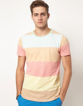 Image 1 ofASOS Stripe T-Shirt With Pique Fabric