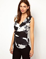 Warehouse Printed Sleeveless Biker Blouse