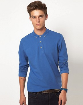 Image 1 ofASOS Polo Shirt With Long Sleeves