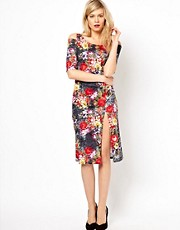 Love Midi Dress In Lace Print With Cut Out Shoulder