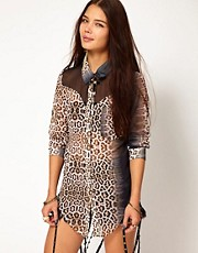 One Teaspoon Dessert Cat Bowie Shirt in Leopard