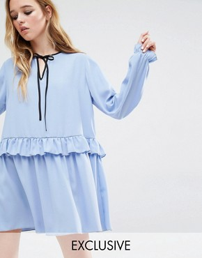 Reclaimed Vintage Ruffle Hem Smock Dress