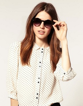 Image 3 ofASOS Metal Top Keyhole Round Sunglasses