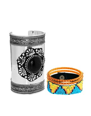 Image 1 ofASOS Stone Cuff Bracelet Pack