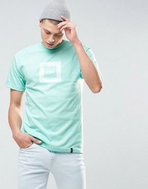 HUF - T-shirt con logo quadrato con stampa cachemire