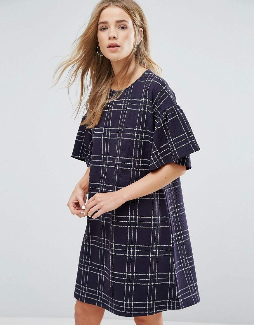 New Look Flute Sleeve Check Smock Dress - Blue
