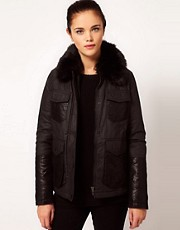 River Island Quilted Jacket With Faux Fur Collar