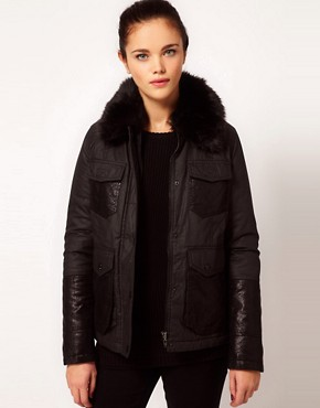 Image 1 ofRiver Island Quilted Jacket With Faux Fur Collar