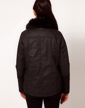 Image 2 ofRiver Island Quilted Jacket With Faux Fur Collar
