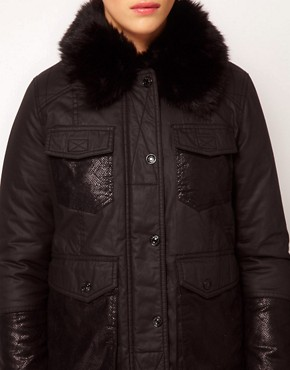 Image 3 ofRiver Island Quilted Jacket With Faux Fur Collar