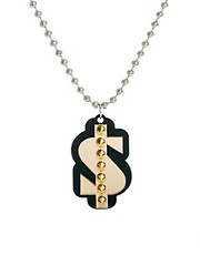 Funky Bling Long Maxi Chain Dollar Necklace