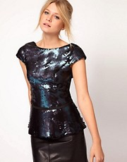 Oasis Sequin Peplum Top