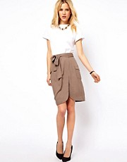 ASOS Pencil Skirt with Utility Tab Detail