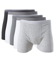 River Island 5 Pack Mix Grey Trunks