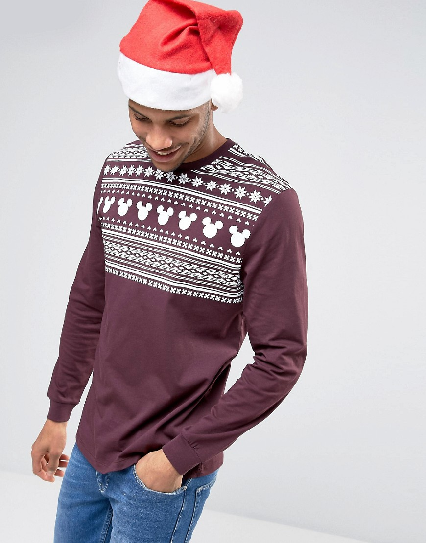 ASOS Mickey Holidays Relaxed Long Sleeve T-Shirt With Fair Isle Yoke P
