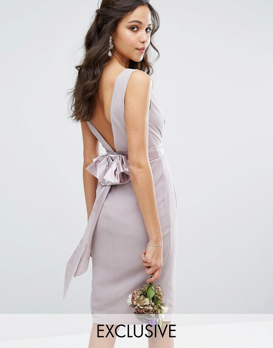 TFNC WEDDING Wrap Midi Dress With Bow Back - Gray