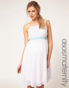 Image 1 ofASOS Maternity Exclusive Midi Dress With Skater Skirt