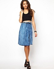River Island Acid Wash Denim Skirt