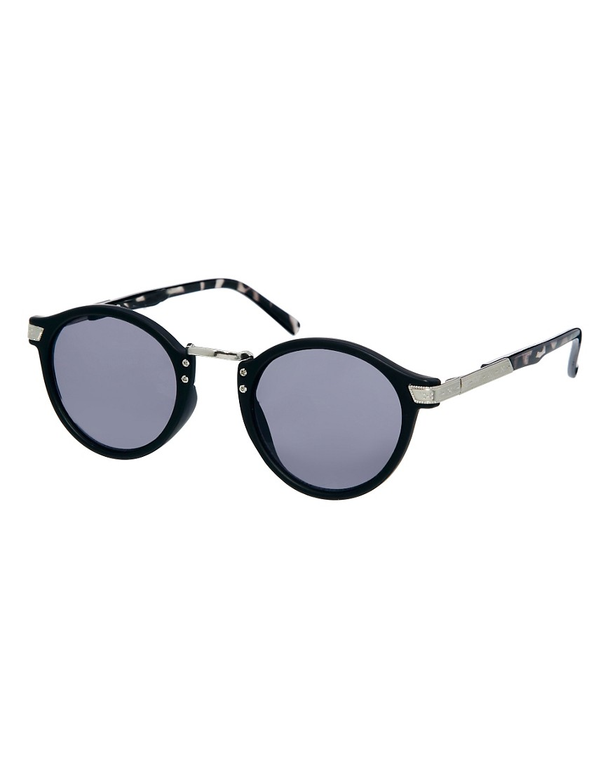 Image 1 of ASOS Vintage Look Round Sunglasses with Grey Tortoiseshell Arms