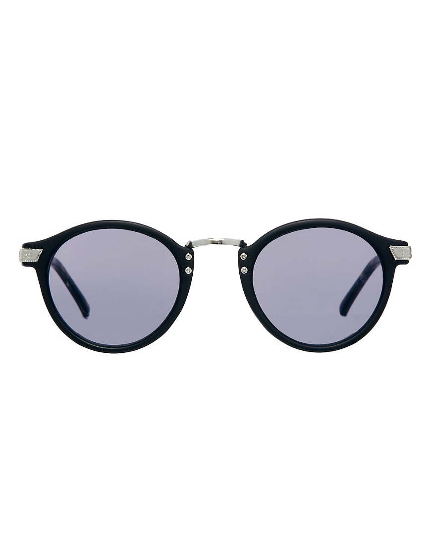 Image 2 of ASOS Vintage Look Round Sunglasses with Grey Tortoiseshell Arms