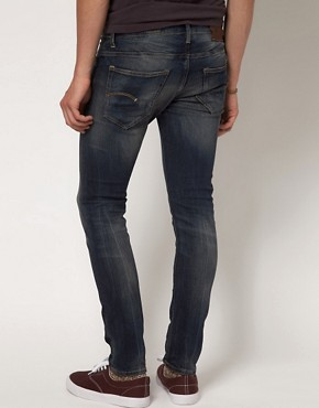 Image 2 ofG Star 3301 Super Slim Dark Aged Jeans