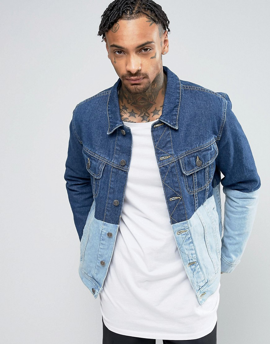 ASOS Denim Jacket with Contrast Panel in Blue - Blue