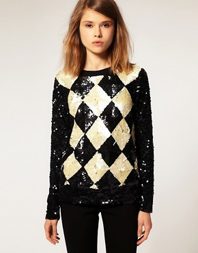 Image 1 ofASOS Premium Embellished Diamond Jumper