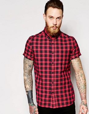 ASOS Shirt In Short Sleeve With Red Tartan Check