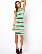John Zack Midi Dress in Zig Zag Stripe