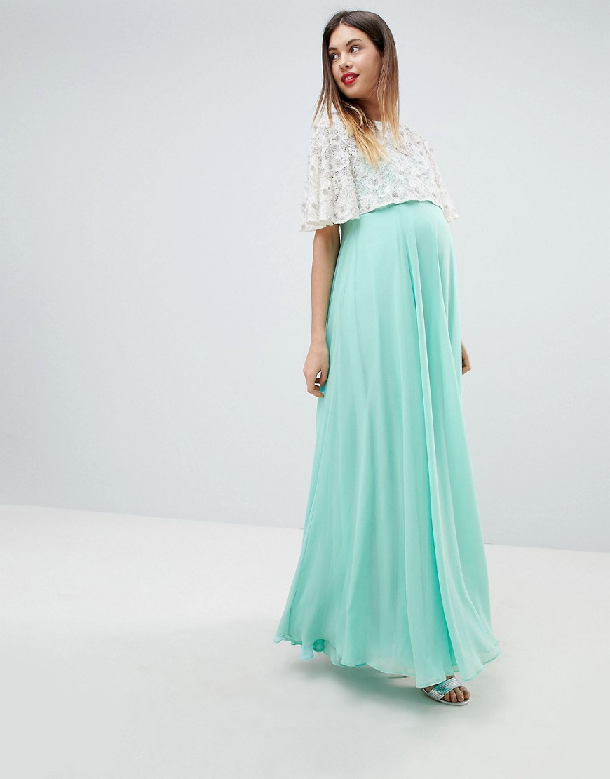 ASOS DESIGN Maternity Lace Embellished Crop Top Maxi Dress