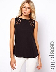 ASOS PETITE Vest With Lace Insert And Dip Back