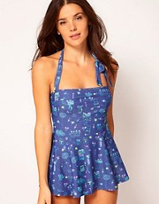 Red Or Dead Night Garden Tankini