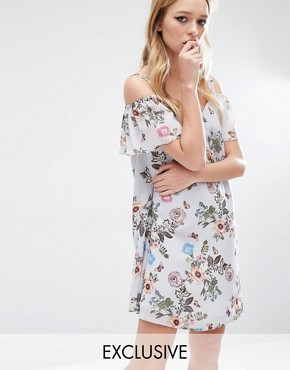 Reclaimed Vintage Off Shoulder Dress With Flute Sleeves In Floral Chiffon