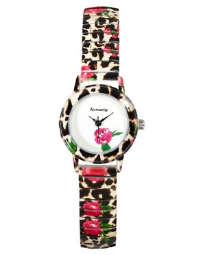 Image 1 ofAccessorize Leopard &amp; Flower Watch