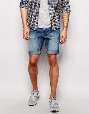 Blend Denim Shorts Slim Fit Mid Distress Wash
