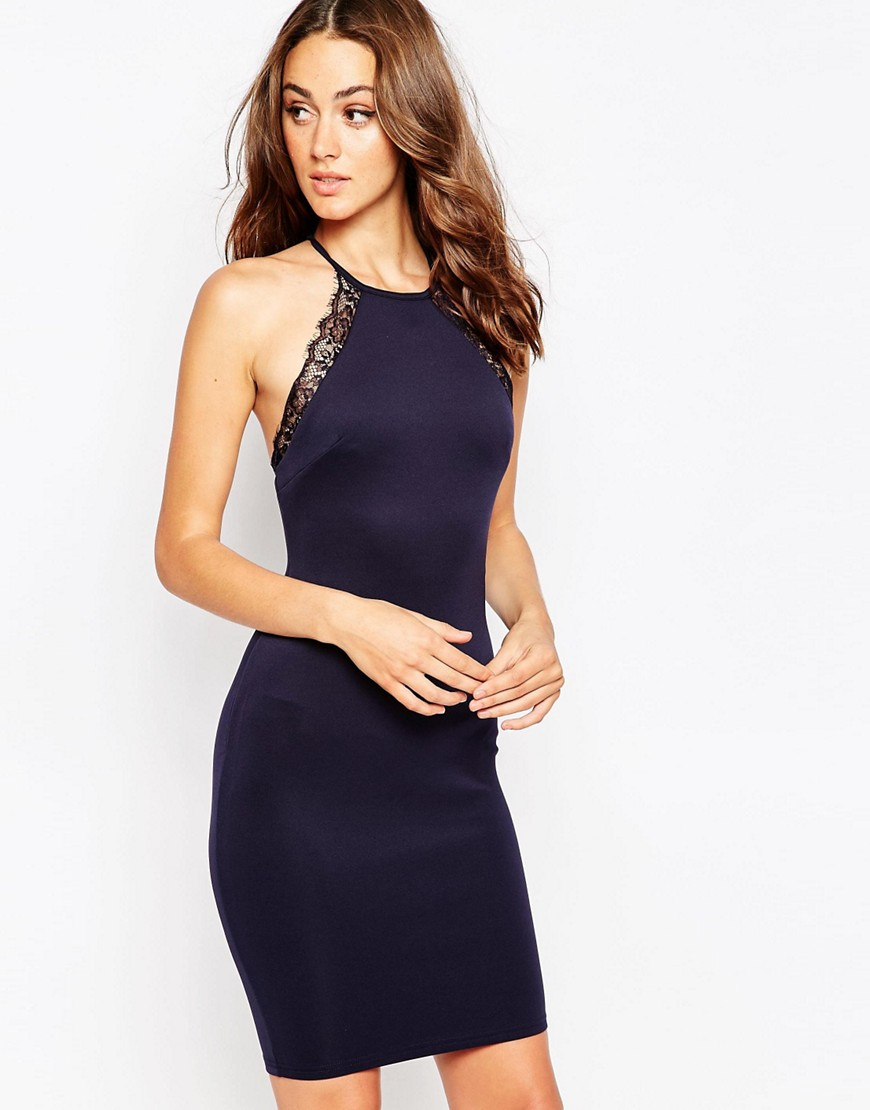 sistaglam-arelie-midi-dress-with-cutaway-neckline-eyelash-lace-trim-navy